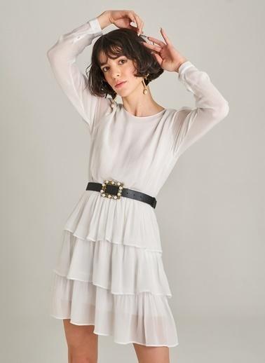 Agenda Şifon Katlı Elbise Beyaz
